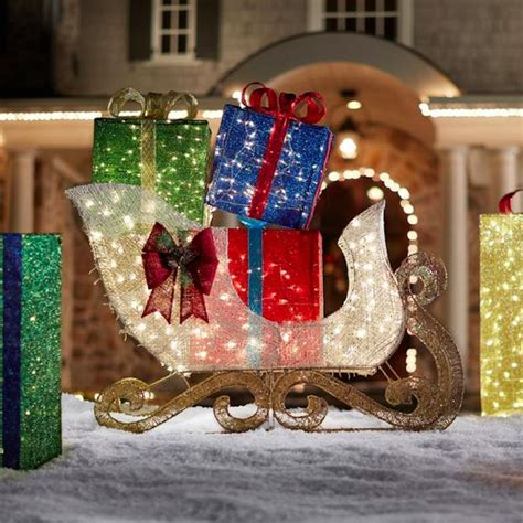 outdoor christmas l post decoration christmas holiday outdoor yard decor jumbo sleigh gift