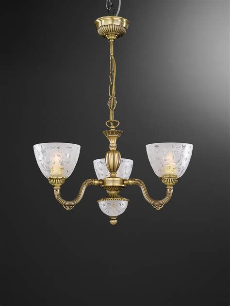 Chandelier Stores 3 Light Brass Chandelier With Frosted Glasses Facing Upward Reccagni Store