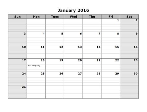 Printable Monthly Calendar Template 2016