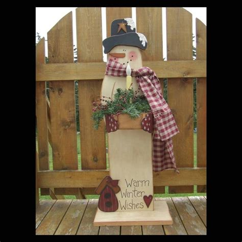 primitive wood pattern snowman digital e by