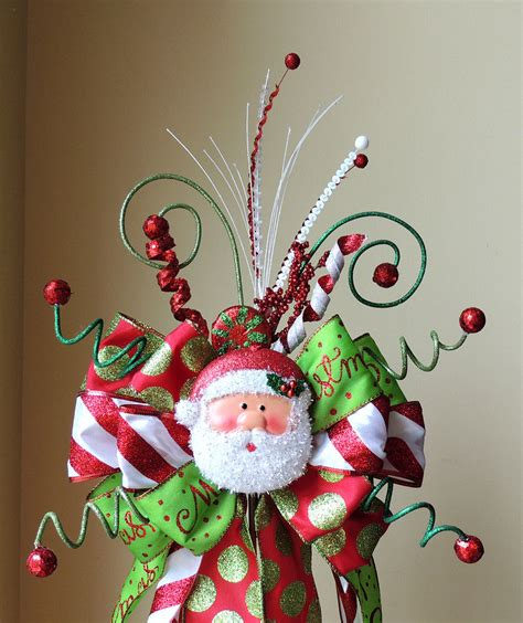 santa christmas tree topper christmas tree topper bow santa