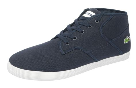 mens lacoste sneakers mens lacoste andover mid canvas trainers boots shoes navy