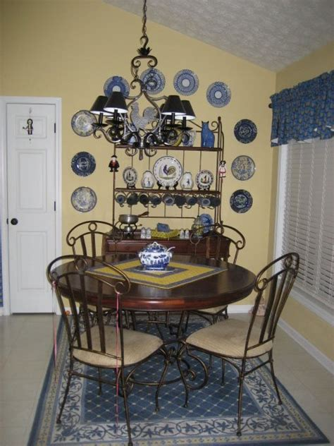 french country blue  yellow dining room french