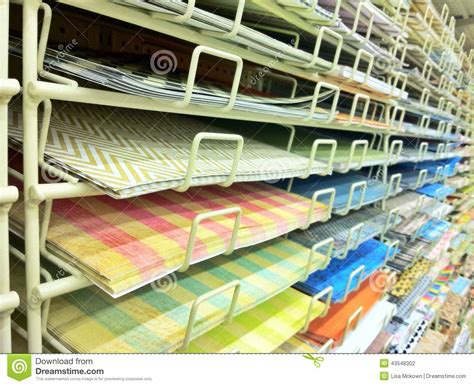 Paper Craft Store - scrapbook paper isle in craft store stock photo image