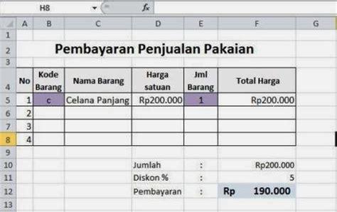 membuat form dan database dengan excel membuat format penjualan dengan vlookup pada excel
