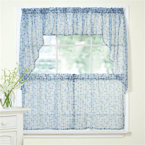 blue green sheer curtains tiles block print blue green sheer voile kitchen curtains