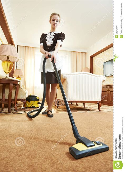 Vacuum Apartment At Chambermaid At Hotel Service Stock Photo Image 51642650