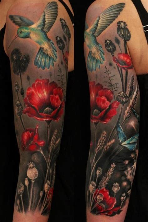 tattoo black and grey with color mix of elements vibrant colors with a black background