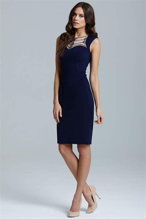 Dress Stretch navy embellished neck stretch midi dress from uk