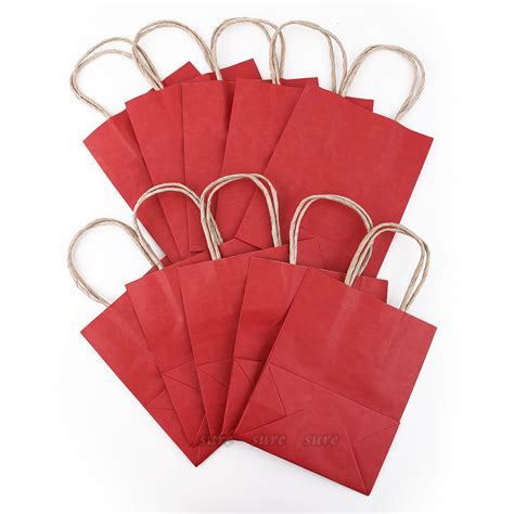 bolsa de papel bolsas de papel kraft para regalo 10 unidades color rojo