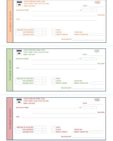 receipts for payments template payment receipt template 5 receipt maker formats