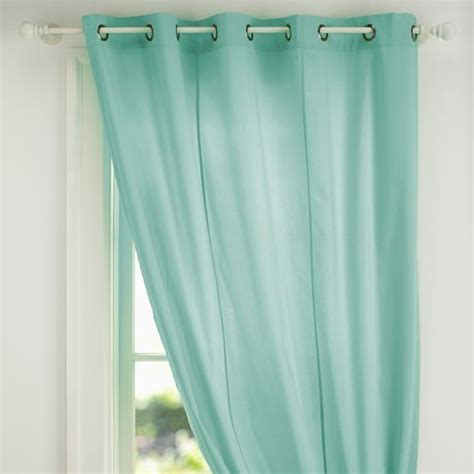 Mint Blue Curtains Slater Recycled Denim Pouf Aqua Curtains Classic