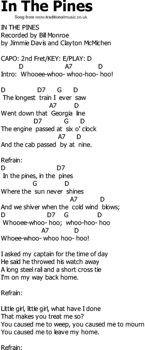song in country song lyrics with chords in the pines