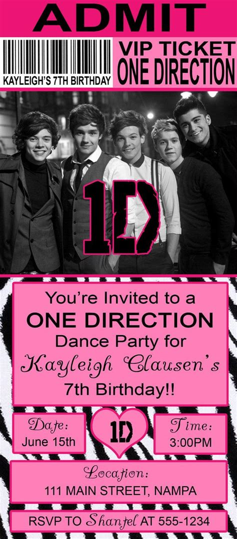 printable birthday cards one direction pink zebra one direction birthday invitation my daughter