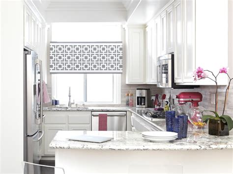modern kitchen window treatments provide privacy and style with a stenciled window