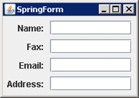 java swing form exle using springlayout to create a forms type layout