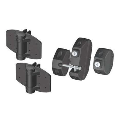 clark black gate hardware kit with loaded hinges