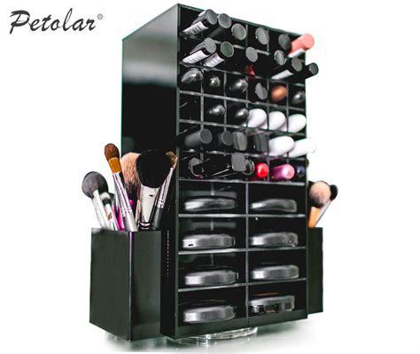 Display Acrylik Kosmetik black glossy storage displayt spining makeup organizer