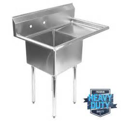 Industrial Kitchen Sink Commercial Stainless Steel Kitchen Utility Sink With Drainboard 39 Quot Wide Ebay