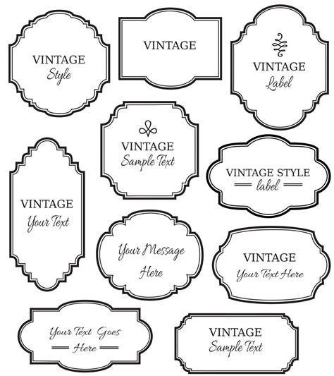 label templates for invitations vintage labels clip art digital frame vector eps