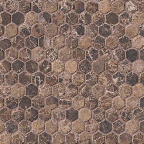 pattern marble mosaic 1 in emperador dark marble hexagon pattern tumbled mosaic