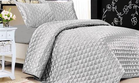 silk quilted coverlet satin quilted coverlet sets groupon goods