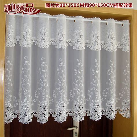 Lace Valance Curtains Countryside Half Curtain Luxurious Embroidered Window Valance Lace Hem Coffee Curtain For