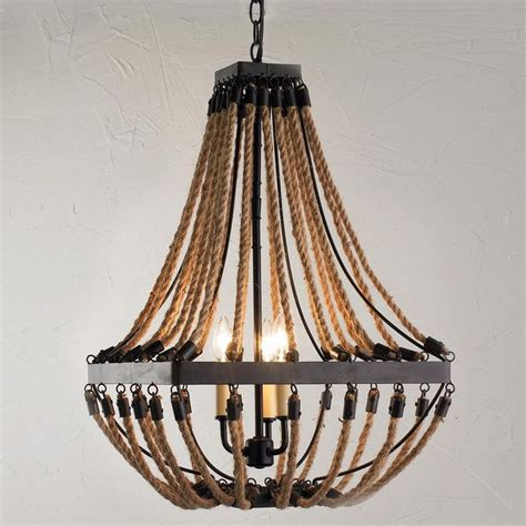 Nautical Chandeliers Nautical Rope And Bronze Square Chandelier