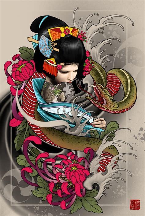 tattoo geisha orientale quot geisha quot art print by elvin tattoo on artsider com