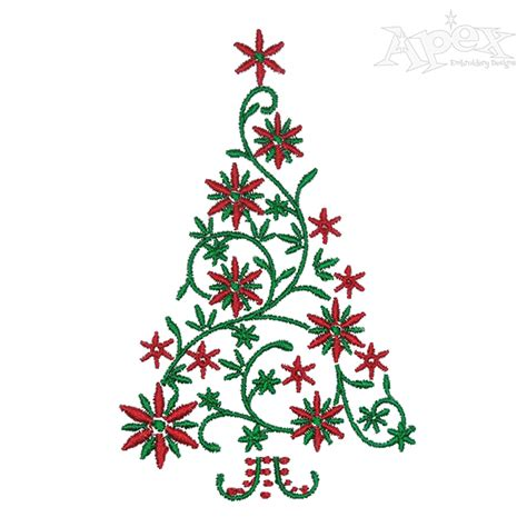 floral decor christmas tree embroidery design