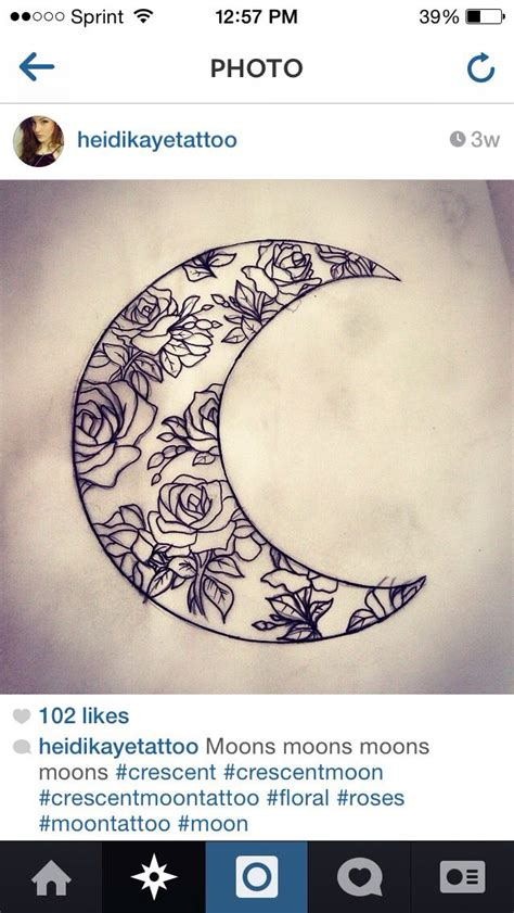 crescent moon tattoo design floral crescent moon ideas