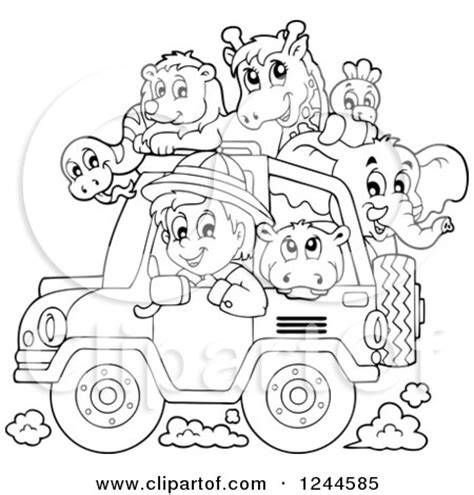 safari jeep front clipart clipart of a black and white safari boy driving a jeep