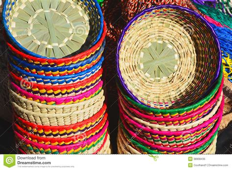 colorful baskets colorful handwoven mexican baskets stock image image of