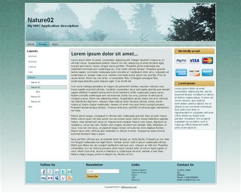 menu design templates in asp net asp net mvc 3 app template with branding features by