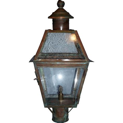 copper l post lantern large vintage copper gas lantern post mounted from circa