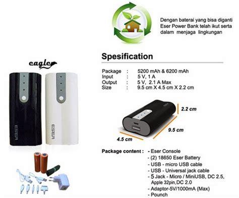 Power Bank Eser power bank eser eagle 10400 mah leather flip cover baterai handphone