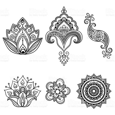 henna flower template mehndi set mehndi