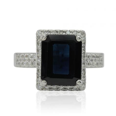 blue sapphire engagement ring emerald cut blue sapphire