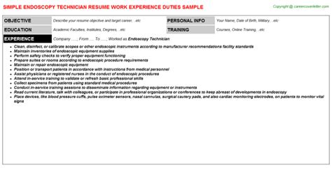 Endoscopy Resume Objective Laboratory Technician Resume Sle Template Awesome And Beautiful Pharmacy Technician Resume