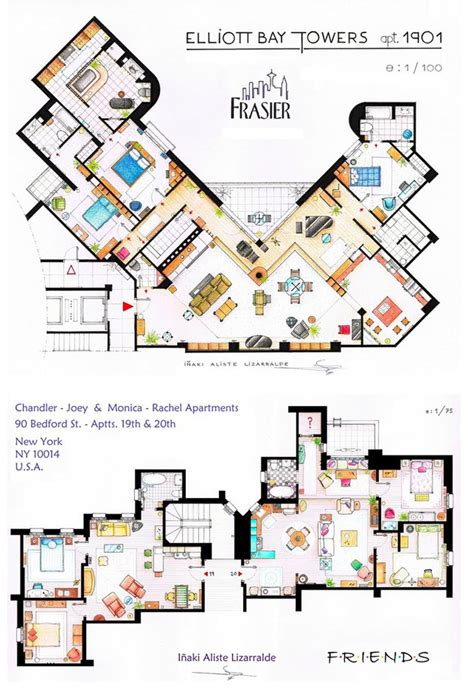 sitcom house floor plans as seen on tv floor plans from famous television series