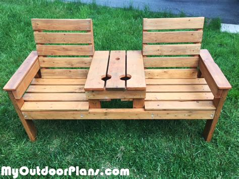 diy rustic double chair bench myoutdoorplans