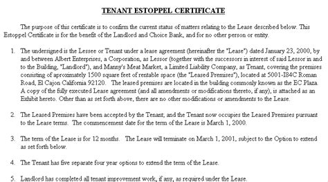 estoppel letter template letter template 2017