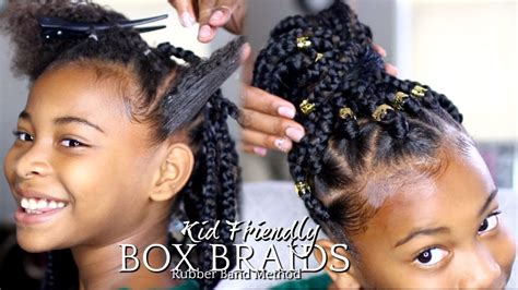 natural hair   box braids rubber band method kids hairstyle youtube