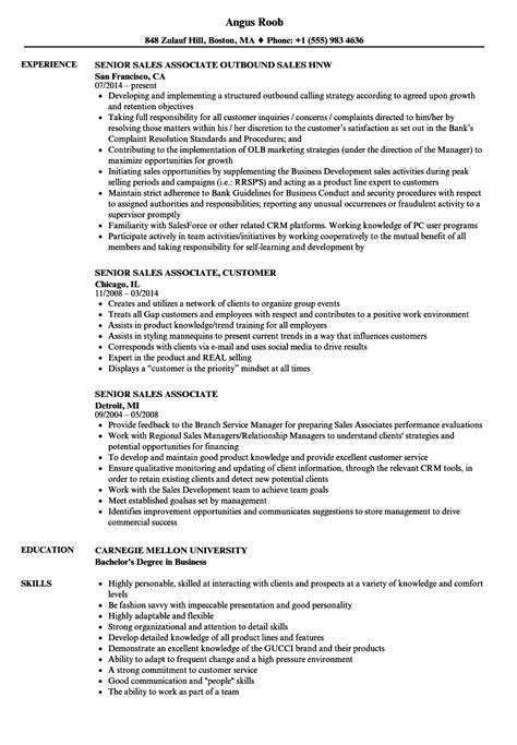 senior resume sles senior sales associate resume sles velvet