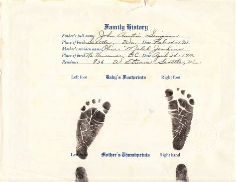 Hospital Birth Record Erin S Genealogy Research Suzanne Louise Swedish Hospital