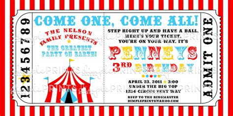printable circus tickets circus tent ticket printable invitation dimple prints shop