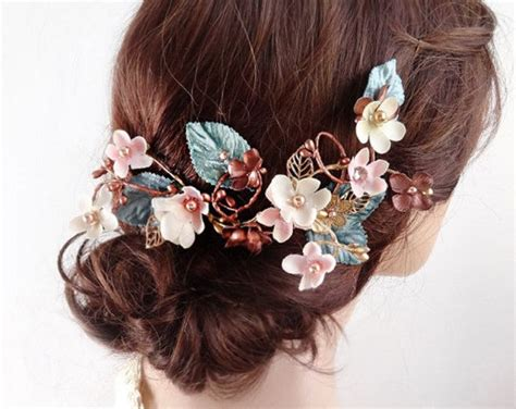 Sirkam C6 Hair Comb C6 copper and turquoise hair clip teal hair clip hair comb copper wedding hair accessories