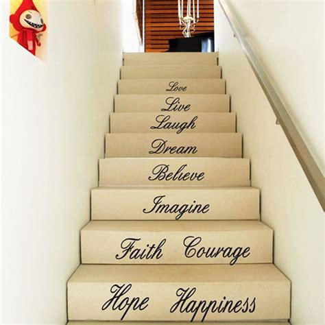 word stickers for walls uk diy removable house stair word quotes faith wall