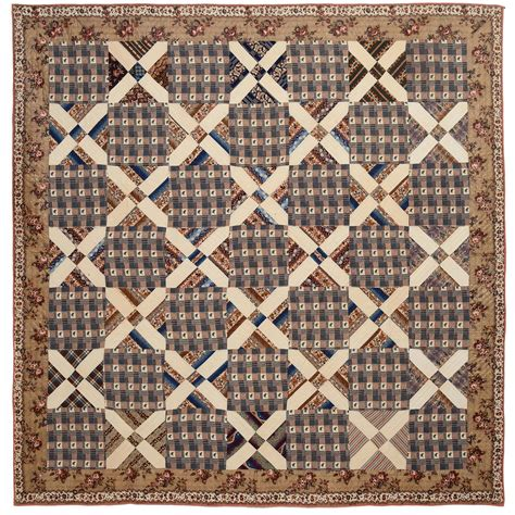Italian Quilting by Italian Block Chintz Quilt For Sale At 1stdibs
