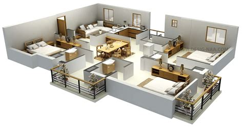 3d floor plans free bedroom flat plan ideas house design plans 3d 5 bedrooms of interalle